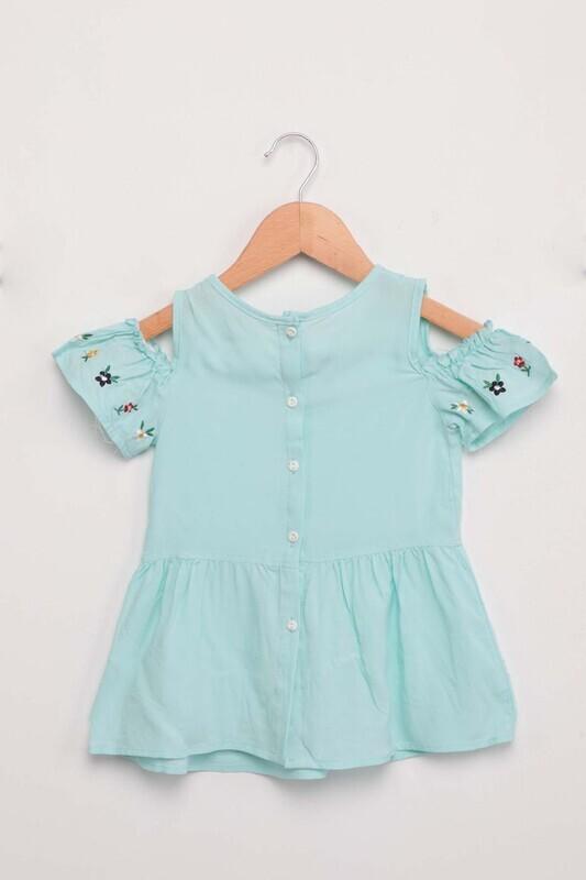 Damla - Nakışlı Kız Bebek Elbise   Su Yeşili