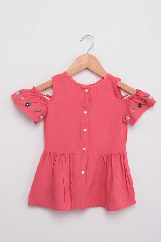 Damla - Nakışlı Kız Bebek Elbise | Fuşya