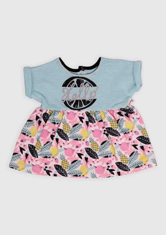 Hippıl Baby - Hippıl Baby Ananas Baskılı Bebek Elbise | Su Yeşili