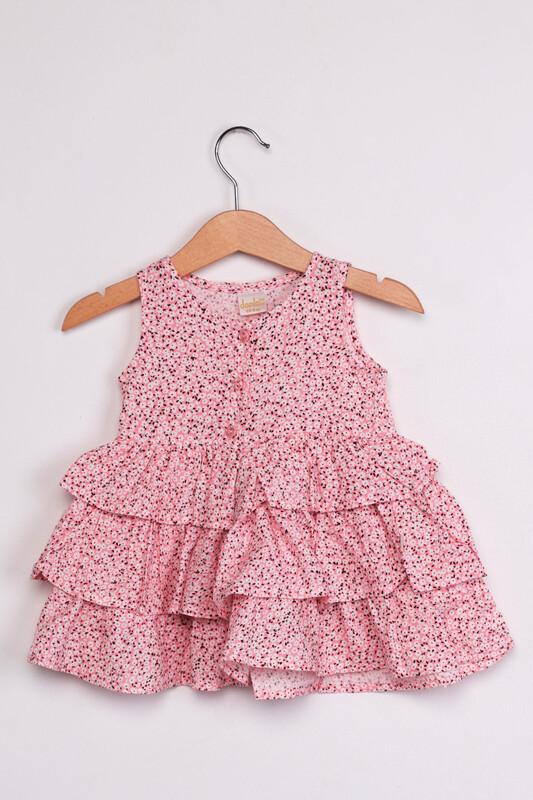 SİMİSSO - Çiçek Baskılı Kız Bebek Elbisesi | Pembe