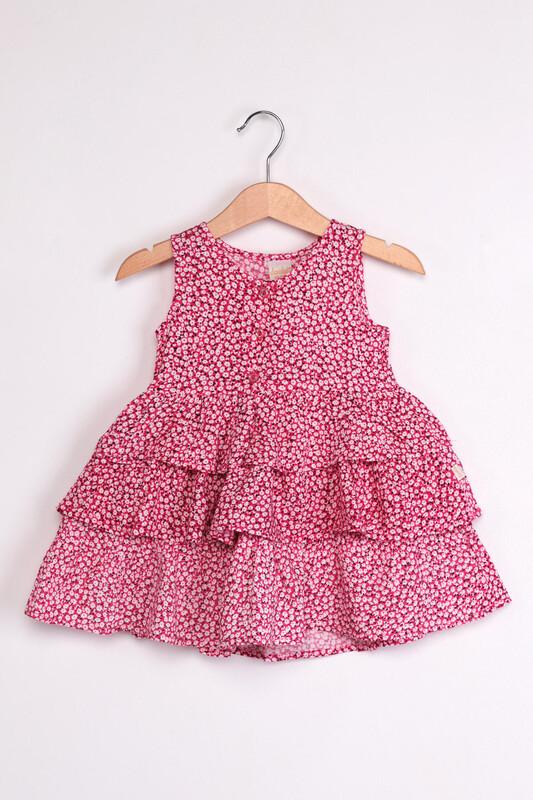 SİMİSSO - Çiçek Baskılı Kız Bebek Elbisesi | Fuşya