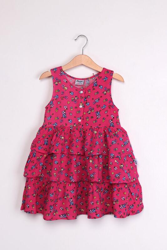 SİMİSSO - Çiçek Baskılı Fırfırlı Kız Bebek Elbisesi | Fuşya