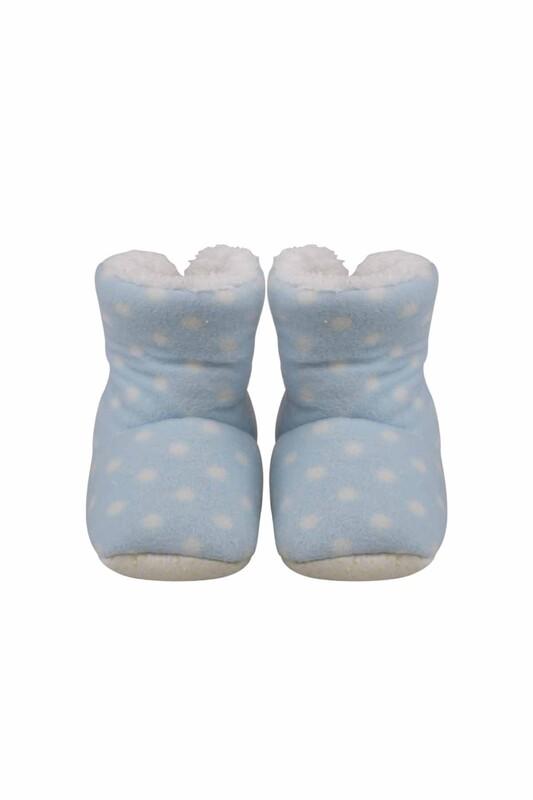 SİMİSSO - Puantiyeli Polarlı Bebek Panduf | Mavi