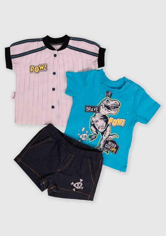 Hippıl Baby - Hippıl Baby Gömlekli 3'lü Bebek Takım   Mavi