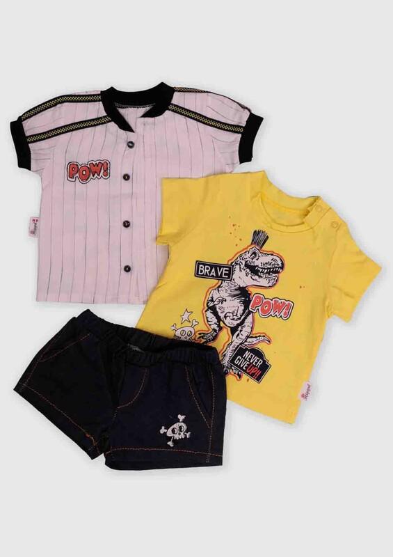 Hippıl Baby - Hippıl Baby Gömlekli 3'lü Bebek Takım | Sarı