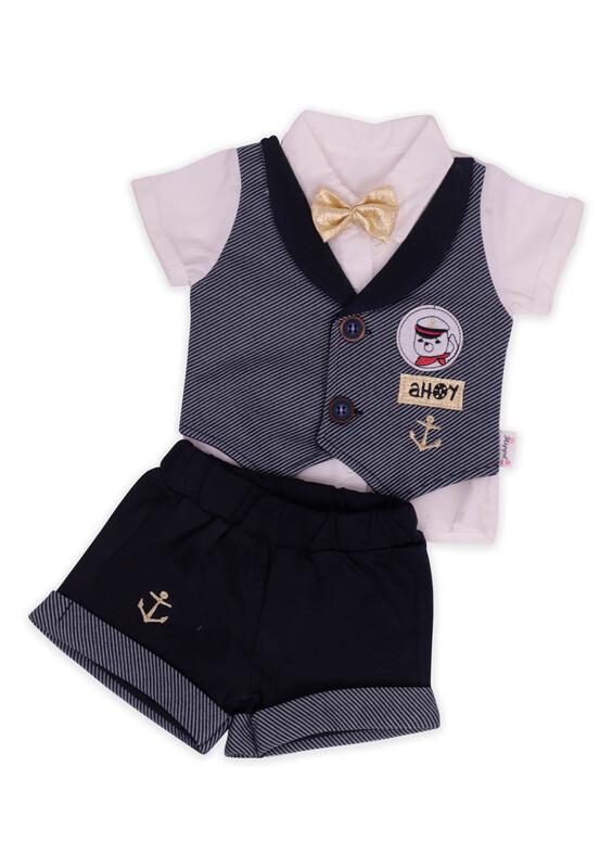 Hippıl Baby - Hippıl Papyonlu Gömlek 2'li Erkek Bebek Takım   Lacivert