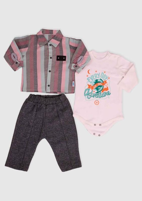 MİLLİON - Million Gömlekli Erkek Bebek 3'lü Takım   Gri