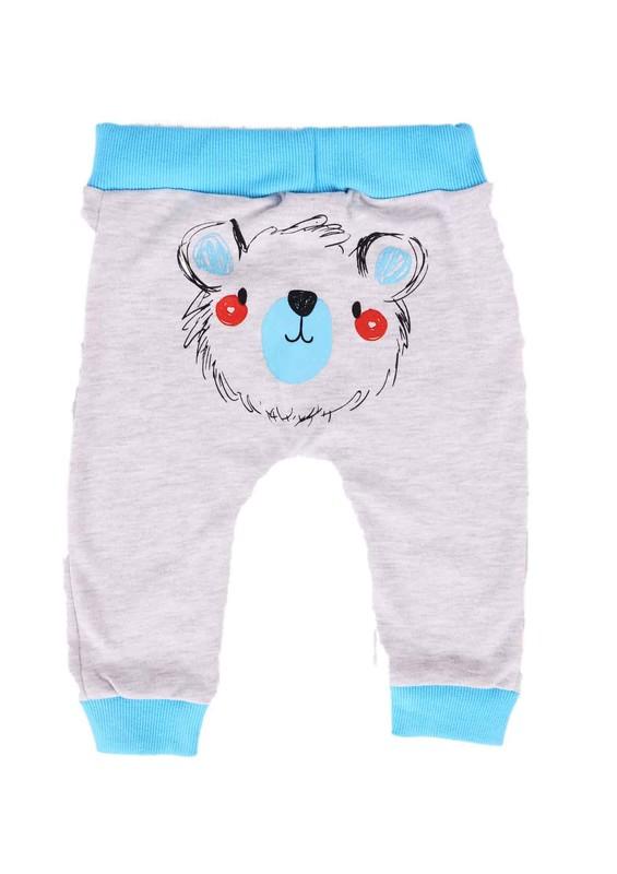 MİNİŞ - Miniş Bebek Pantolonu 1016 | Turkuaz Gri