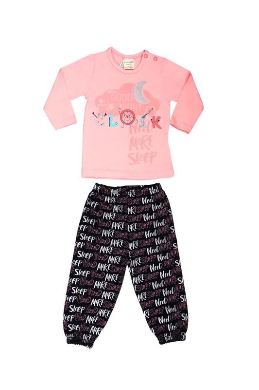 Luminoso - Luminoso Yazı Baskılı Bebek Pijama Takımı 863 | Pudra