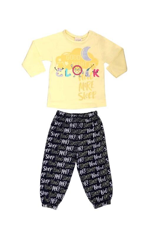 Luminoso - Luminoso Yazı Baskılı Bebek Pijama Takımı 863 | Sarı
