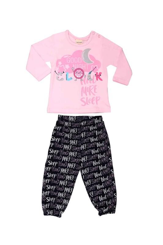 Luminoso - Luminoso Yazı Baskılı Bebek Pijama Takımı 863 | Pembe