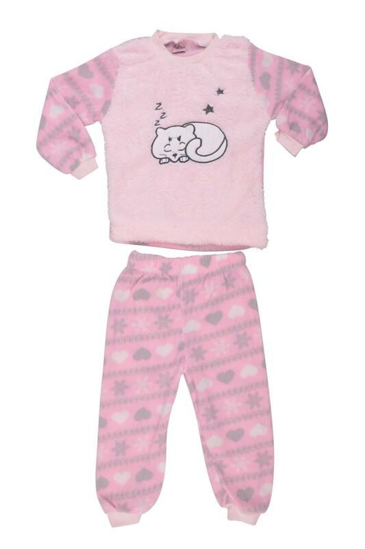 SİMİSSO - Kedi Baskılı Peluş Bebek Pijama Takımı | Pembe
