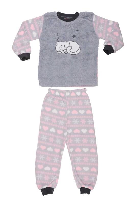 SİMİSSO - Kedi Baskılı Peluş Bebek Pijama Takımı | Gri