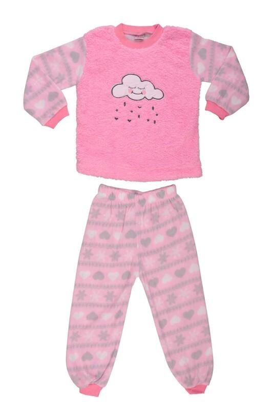 SİMİSSO - Bulut Baskılı Peluş Bebek Pijama Takımı | Pembe