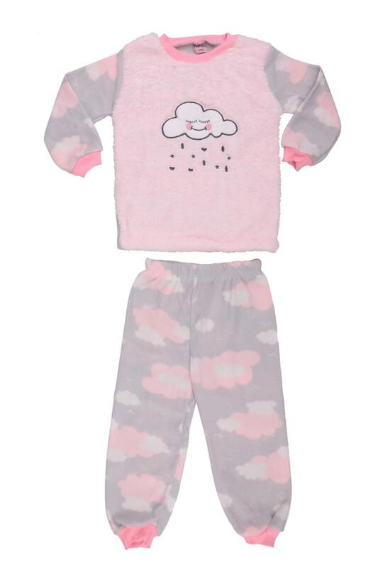SİMİSSO - Bulut Baskılı Peluş Bebek Pijama Takımı | Bebe Pembe