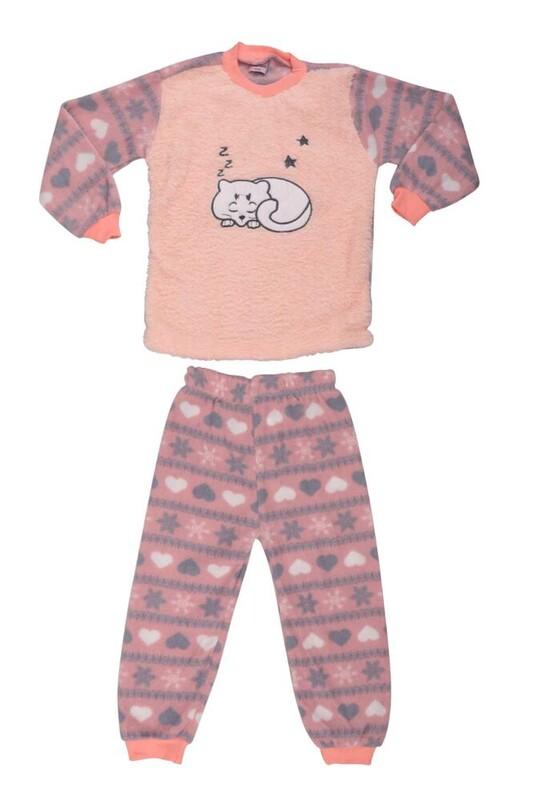 SİMİSSO - Kedi Baskılı Peluş Bebek Pijama Takımı | Yavruağzı
