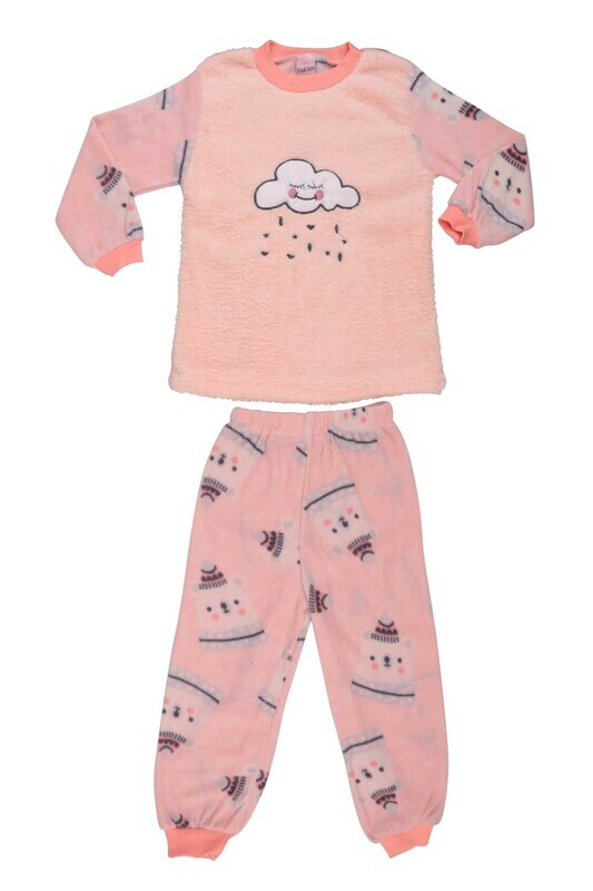 SİMİSSO - Bulut Baskılı Peluş Bebek Pijama Takımı | Yavruağzı