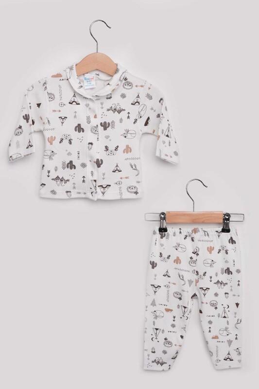 SİMİSSO - Kaktüs Desenli Bebek Pijama Takımı | Kahverengi