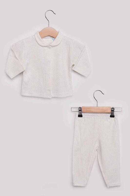 SİMİSSO - Puantiye Desenli Bebek Pijama Takımı | Bej
