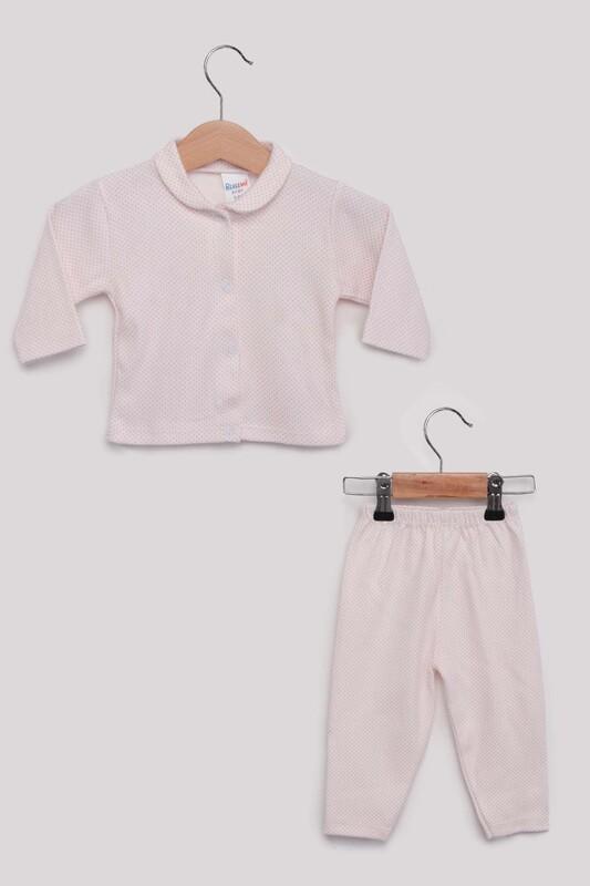 SİMİSSO - Puantiye Desenli Bebek Pijama Takımı | Fuşya