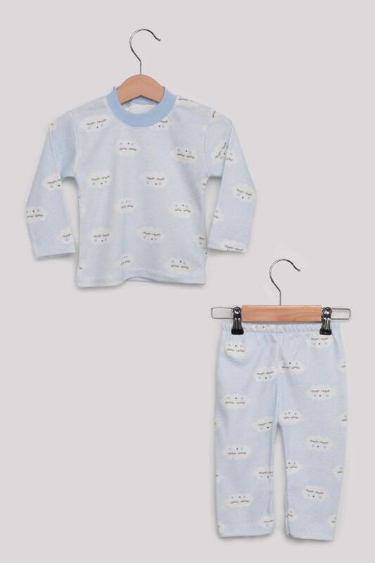 SİMİSSO - Bulut Desenli Bebek Pijama Takımı | Mavi