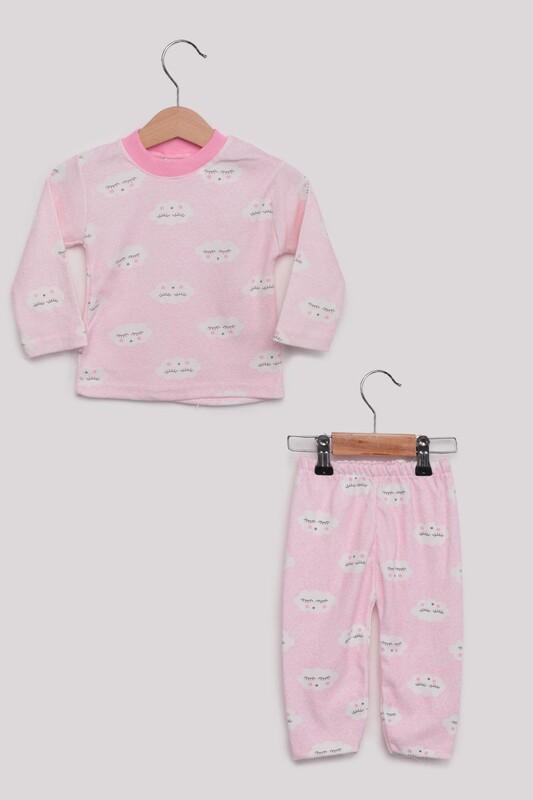 SİMİSSO - Bulut Desenli Bebek Pijama Takımı | Pembe