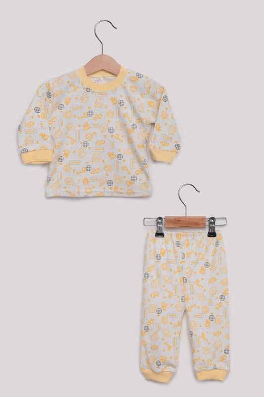 SİMİSSO - Fil Desenli Bebek Pijama Takımı | Sarı