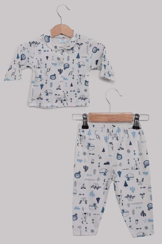 SİMİSSO - Kaktüs Desenli Bebek Pijama Takımı | Mavi