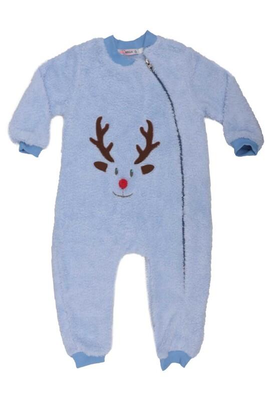 SİMİSSO - Geyik Desenli Bebek Peluş Tulum 3147 | Mavi