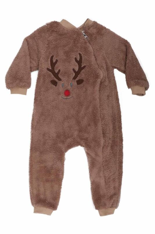 SİMİSSO - Geyik Desenli Bebek Peluş Tulum 3147 | Kahverengi