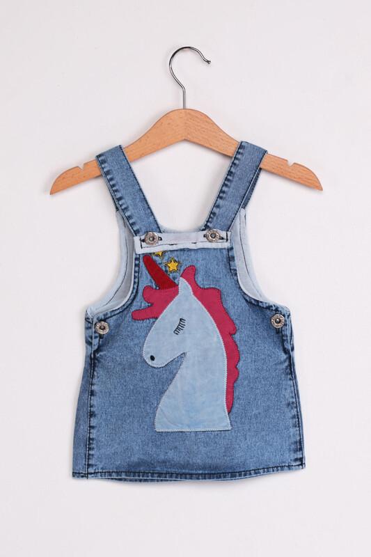 SİMİSSO - Unicorn Baskılı Kız Bebek Salopet 2'li | Mavi