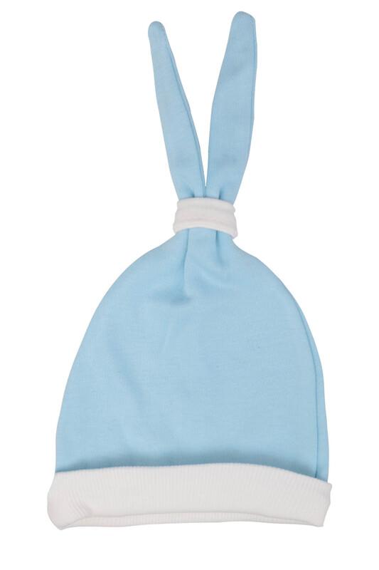 SİMİSSO - Bebek Kulaklı Şapka | Mavi Beyaz