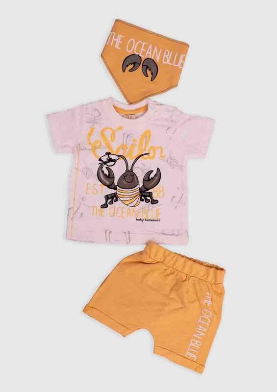 Luminoso - Luminoso Yengeç Baskılı 3'lü Şortlu Bebek Takım | Sarı
