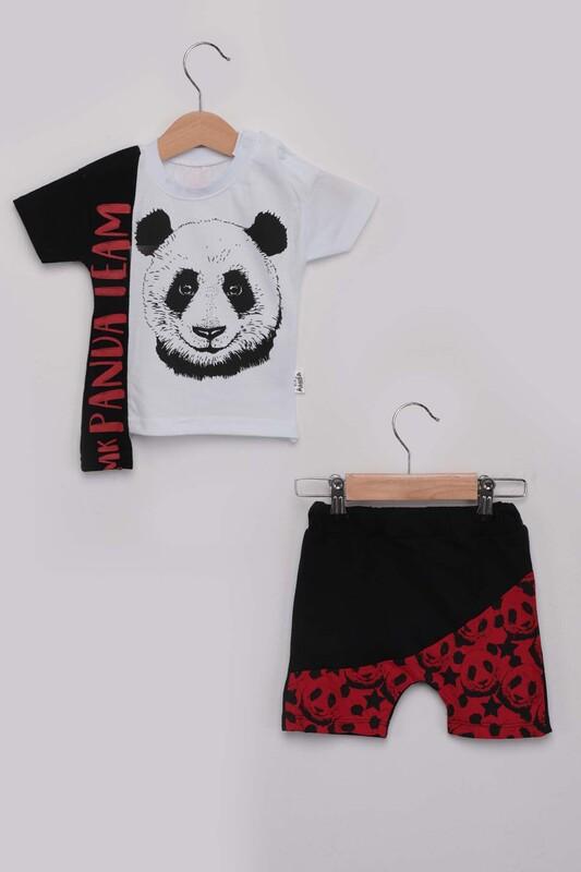 SİMİSSO - Panda Baskılı Erkek Çocuk Şortlu Takım | Kırmızı