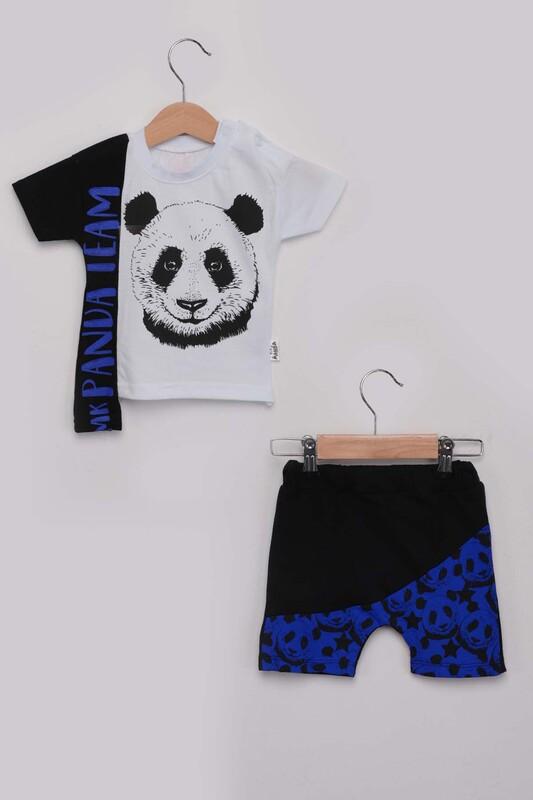 SİMİSSO - Panda Baskılı Erkek Çocuk Şortlu Takım | Mavi