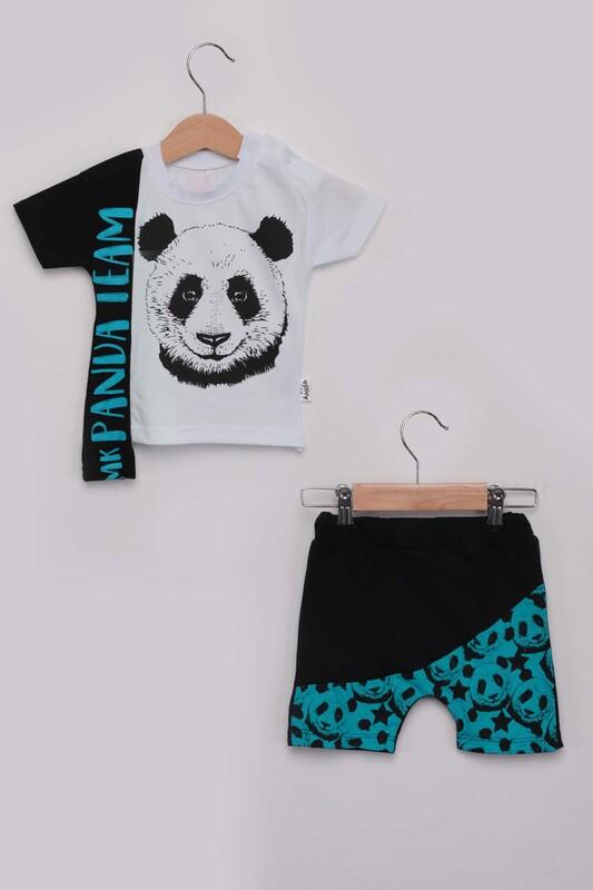 SİMİSSO - Panda Baskılı Erkek Çocuk Şortlu Takım | Turkuaz