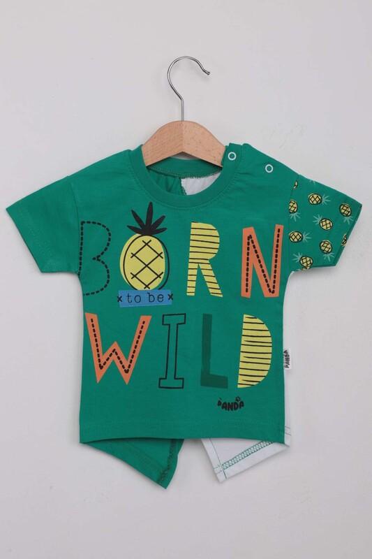 SİMİSSO - Ananas Baskılı Erkek Çocuk Şortlu Takım   Yeşil