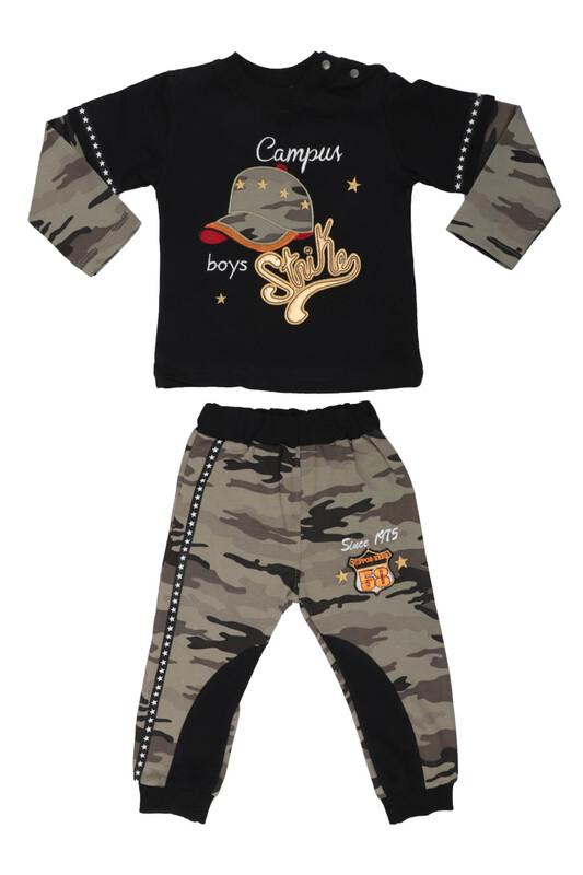 BABY CHOİCE - Şapka Nakışlı Bebek Takım 7010 | Siyah
