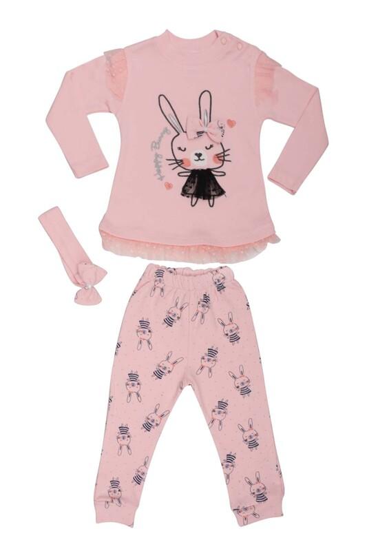 BABY CHOİCE - Tavşan Desenli Bebek Takım 8697 | Bebe Pembe