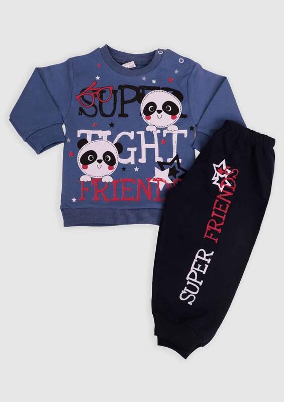 BİLKON - Panda Baskılı Bebek 2'li Takım | Lacivert