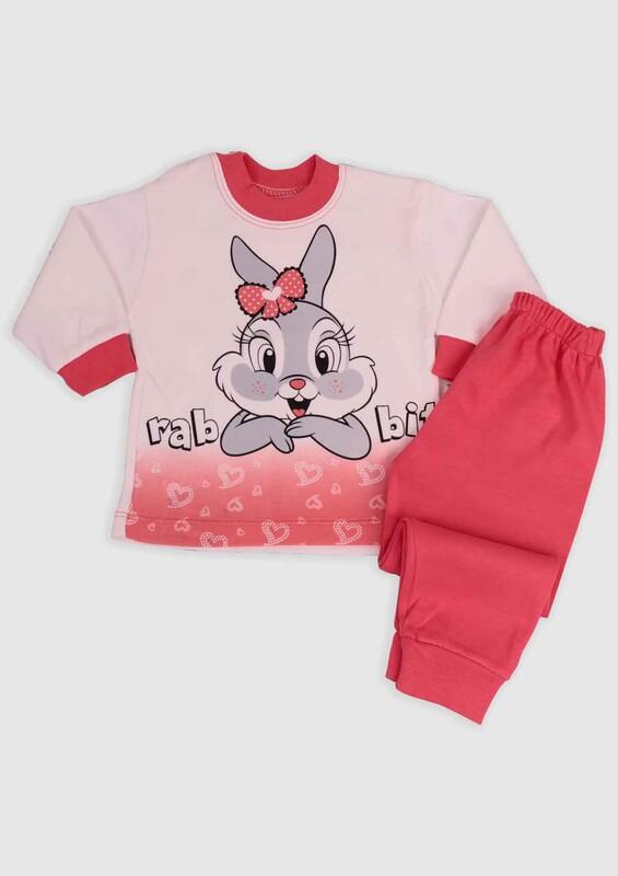 BİLKON - Tavşan Baskılı Bebek 2'li Takım | Pembe