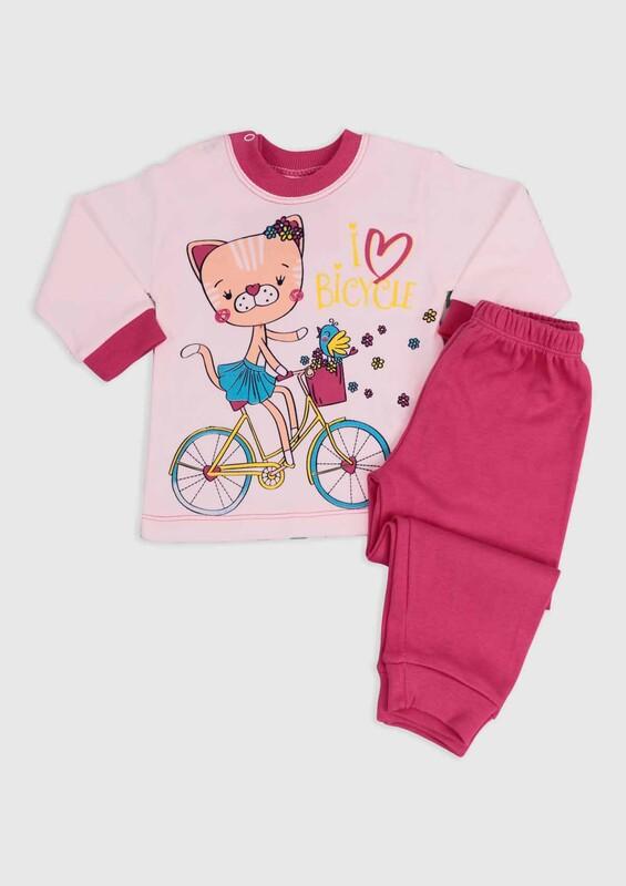 BİLKON - Bisiklet Baskılı Bebek 2'li Takım | Pembe
