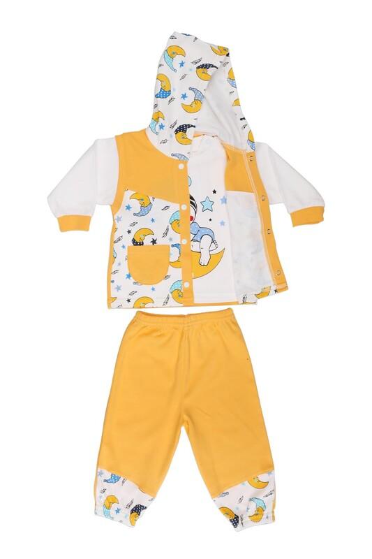 Çağkon - Çağkon Ay Dede Baskılı Bebek Takımı 813   Sarı