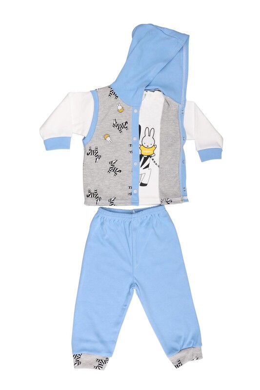 Çağkon - Çağkon Zebra Desenli Bebek Takımı 812 | Mavi