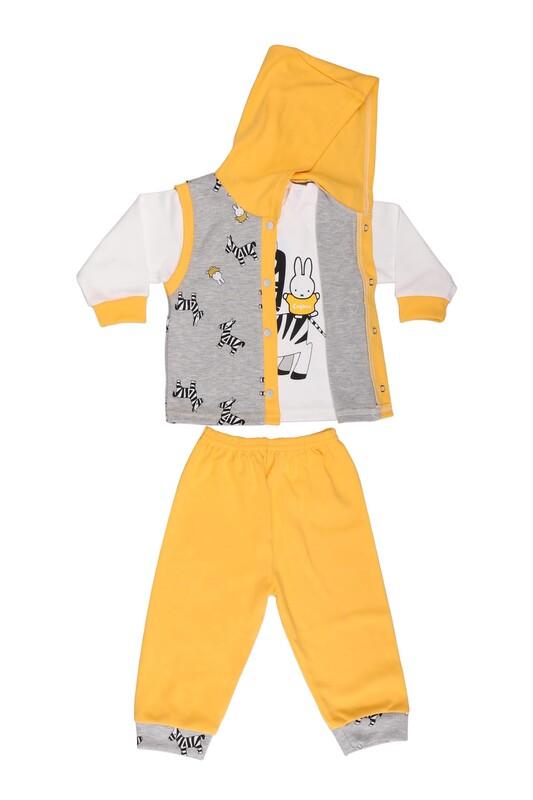 Çağkon - Çağkon Zebra Desenli Bebek Takımı 812 | Sarı