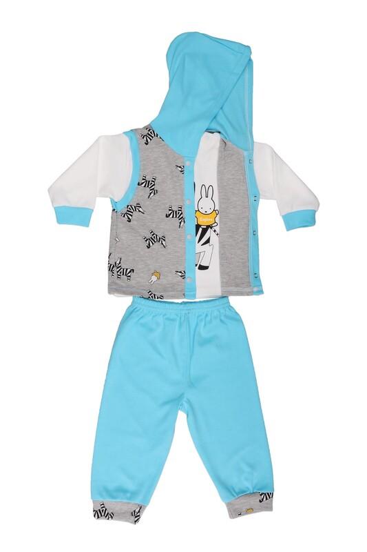 Çağkon - Çağkon Zebra Desenli Bebek Takımı 812 | Turkuaz