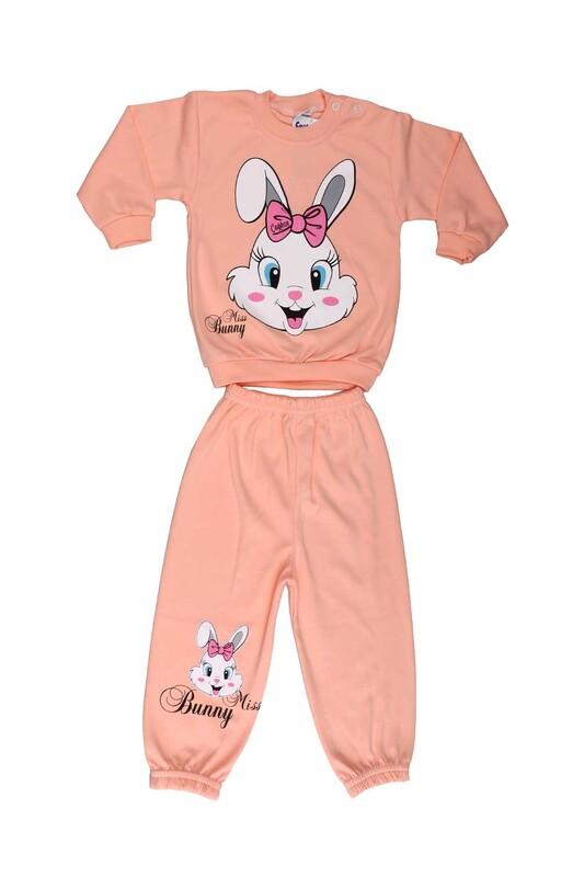 Çağkon - Çağkon Tavşan Baskılı Bebek Takımı 811 | Somon