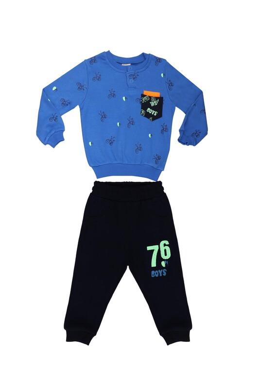 Damla - Damla Bisiklet Baskılı Bebek Takımı 20457 | Mavi