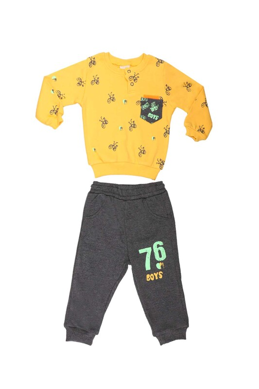 Damla - Damla Bisiklet Baskılı Bebek Takımı 20457 | Sarı