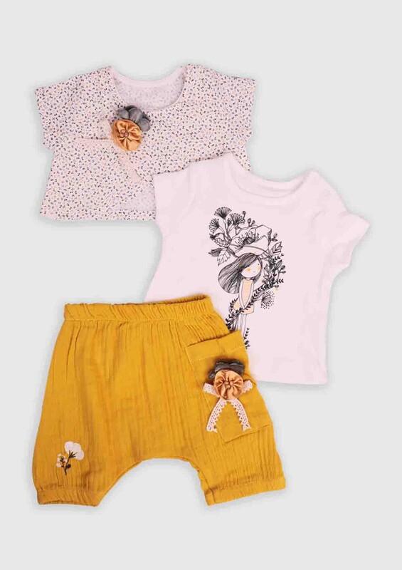 Hippıl Baby - Hippıl Baby Çiçekli 3'lü Bebek Takım | Hardal